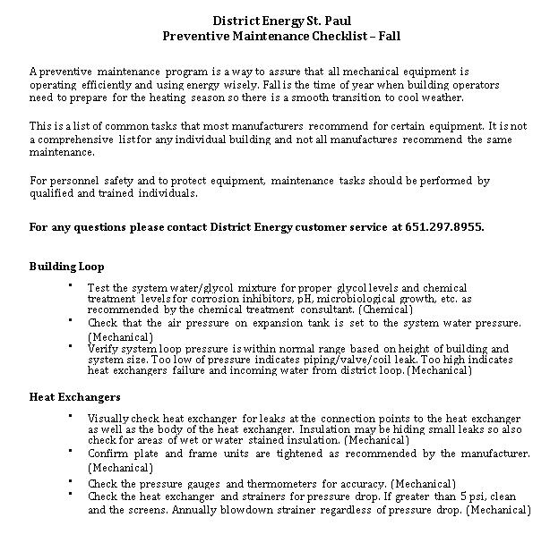 Preventive Maintenance Checklist Example