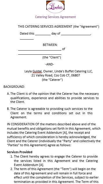 Printable Catering Service Agreement Template