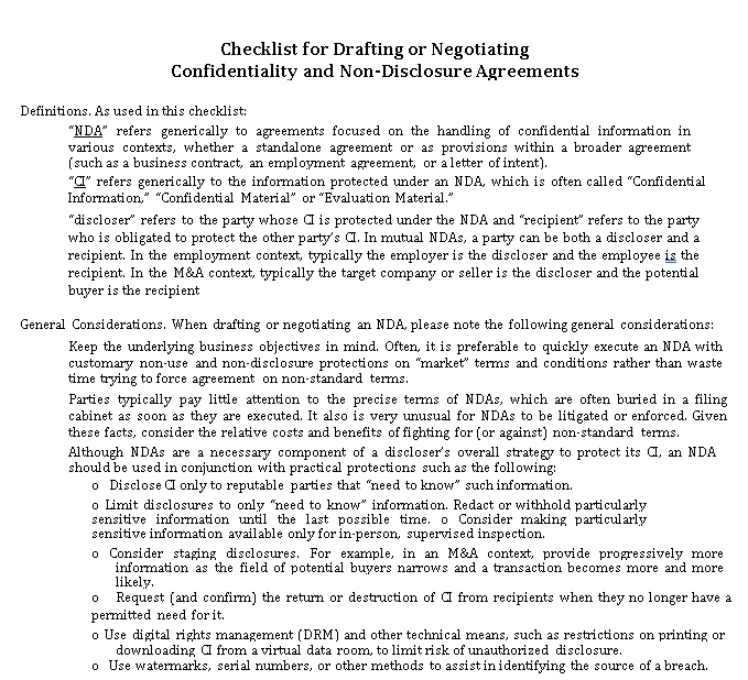 Printable Drafting Checklist