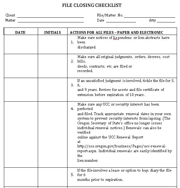 Professional File Closing Checklist Example