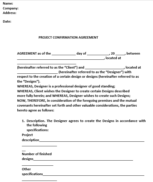 Project Agreement in PDF