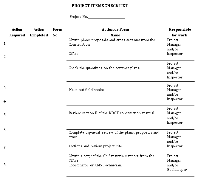 Project Items Checklist Template