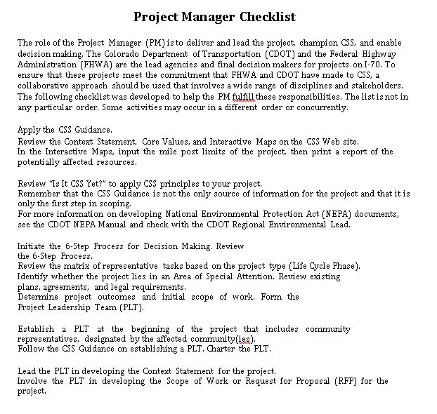 Project Manager Duties Checklist Template