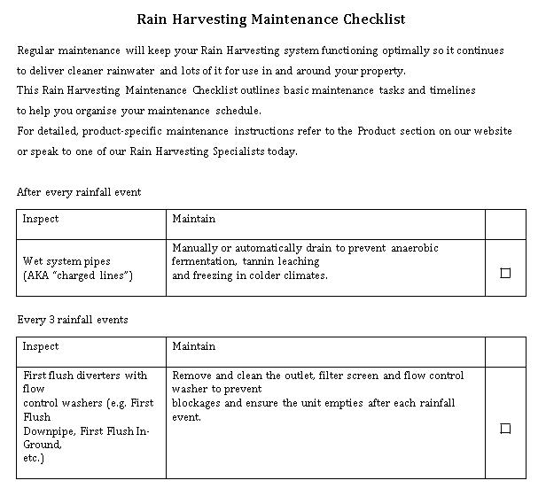 Rain Harvesting Maintenance Checklist Template
