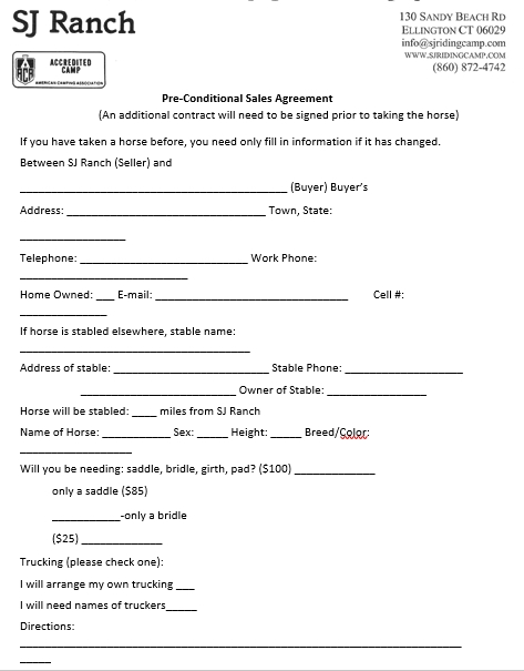 Ranch Pre Conditional Sales Agreement Template