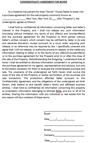 Real Estate Confidentiality Agreement Form