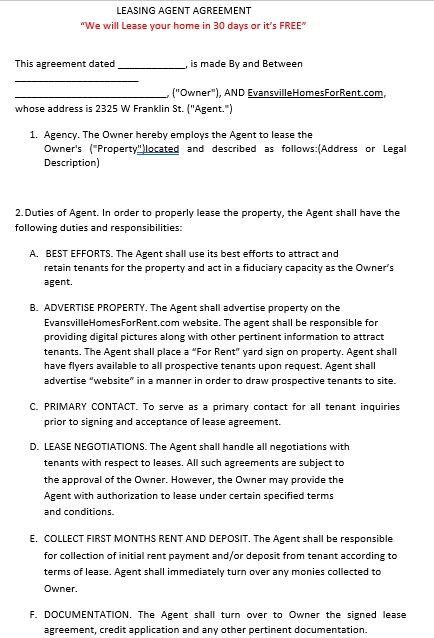 Rental Agent Agreement Template