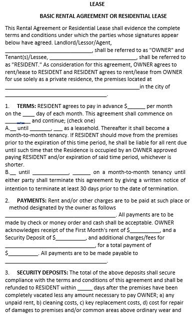 Rental Agreement Template 1