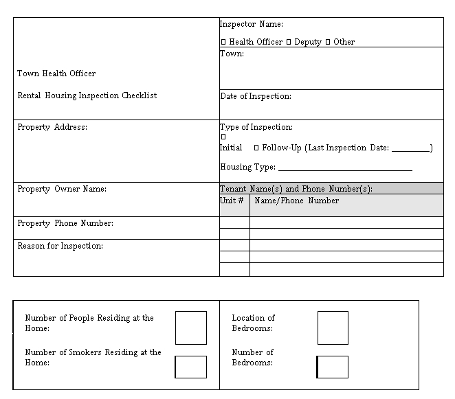 Rental Home Inspection Checklist Template
