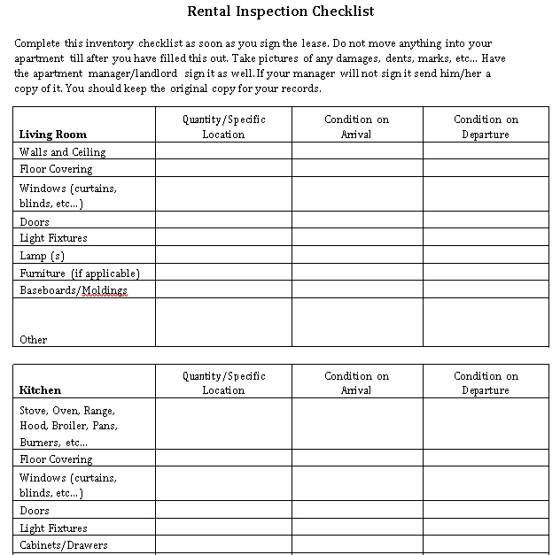 Rental House Inspection Checklist