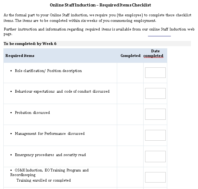 Required Items Checklist Template