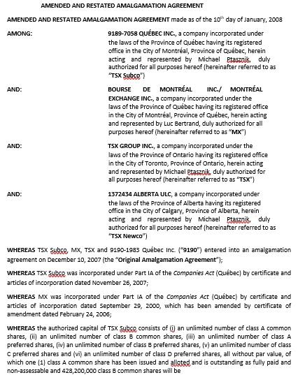 Restated Amalgamation Agreement Template