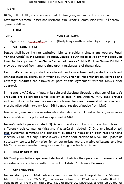 Retail Concession Agreement