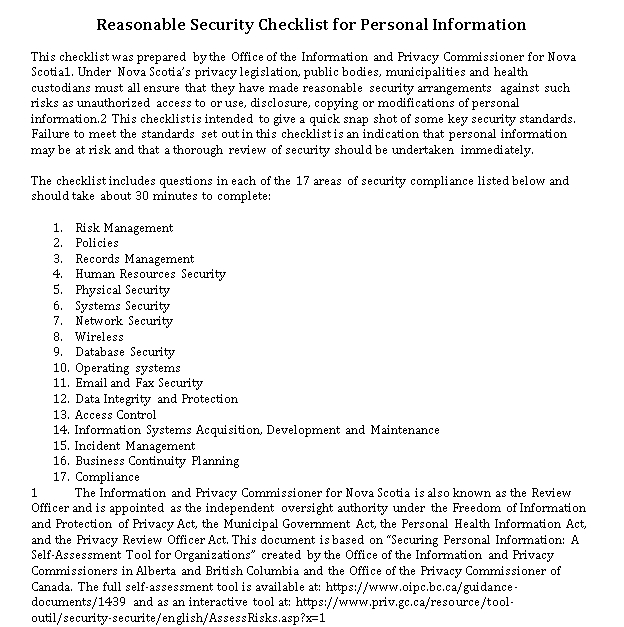 Risk Management Database Security Checklist Simple