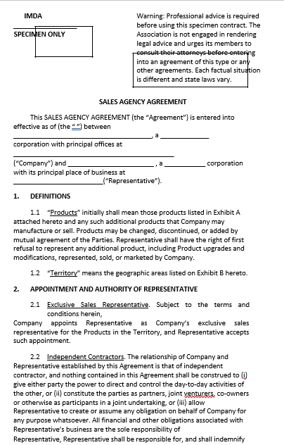 Sales Agency Commission Agreement Template