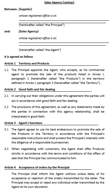 Sales Agency Commission Contract Template