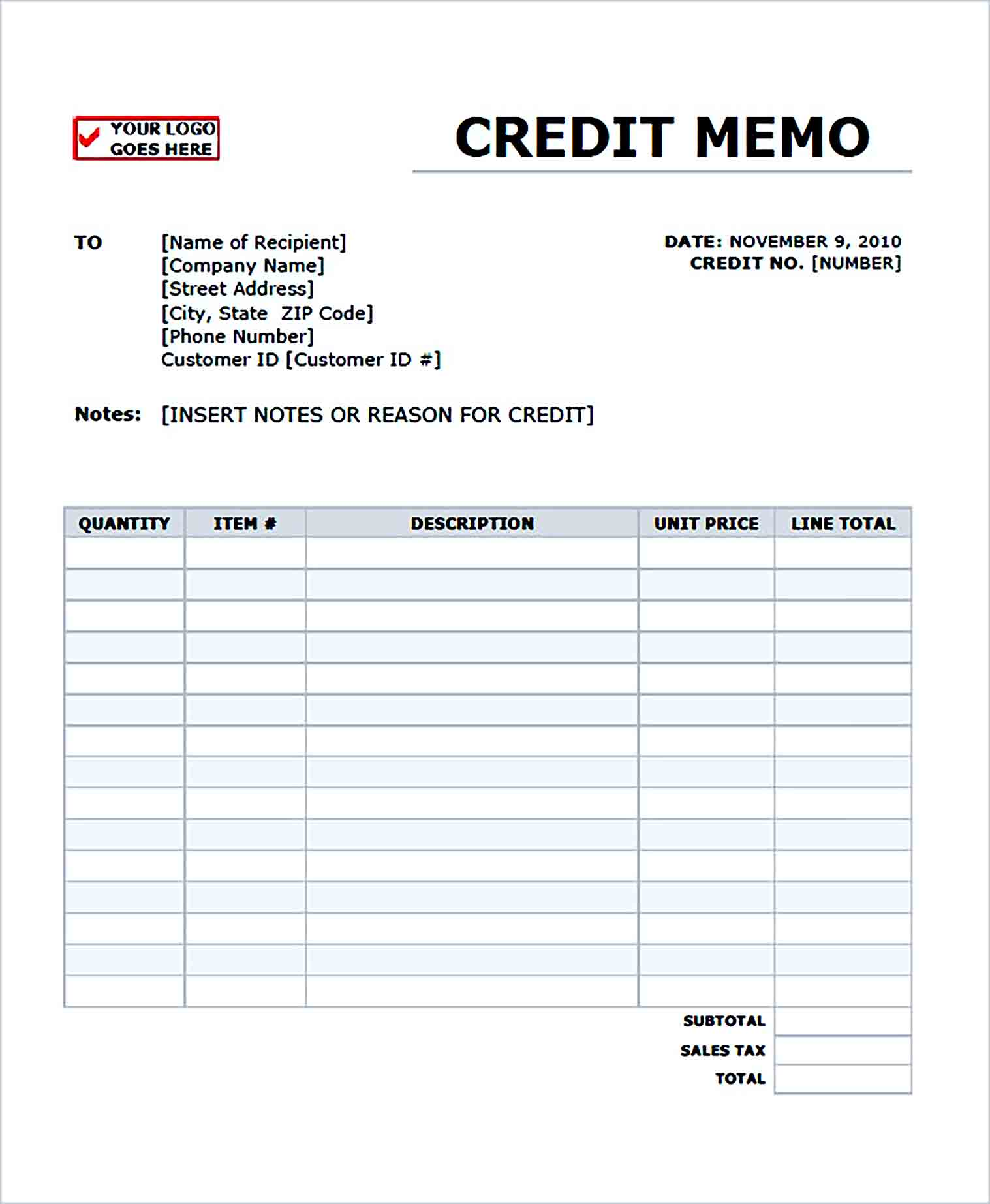 Sample Blank Credit Memo Form