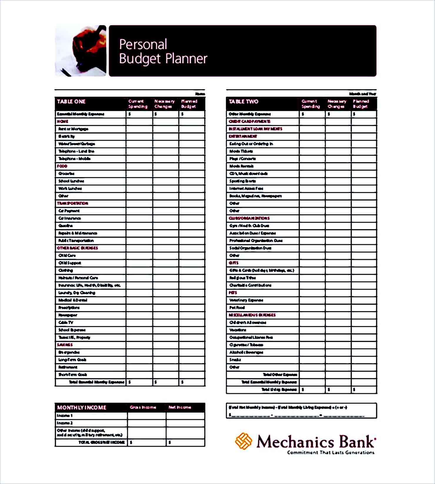 Sample Budget Planner 001