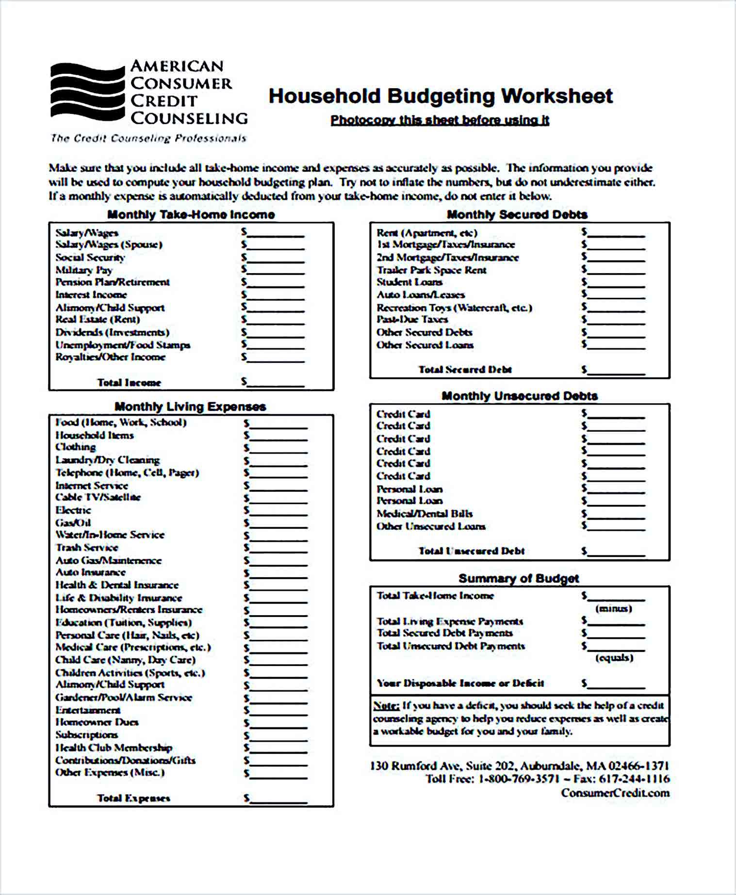 Sample Budget for Home Worksheet