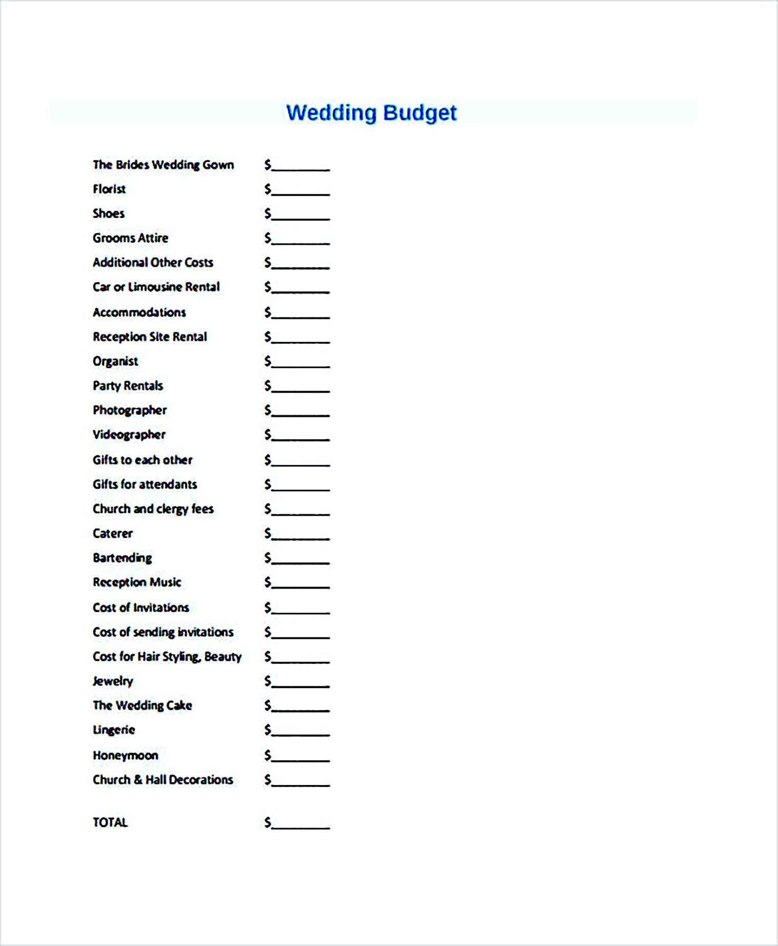 Sample Budget for Wedding 002