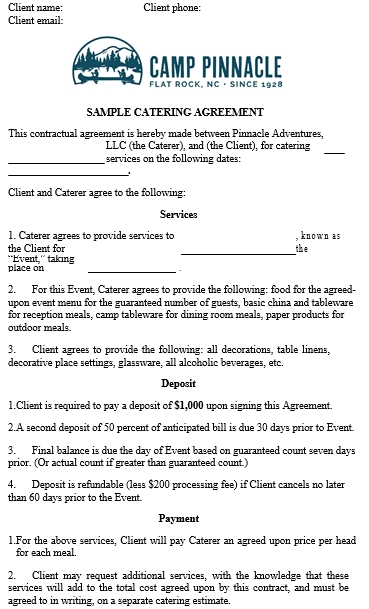 Sample Catering Service Agreement Template