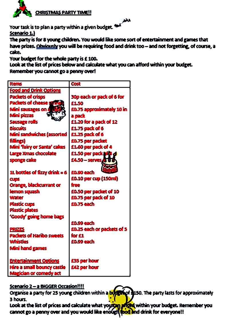 Sample Christmas Party Budget