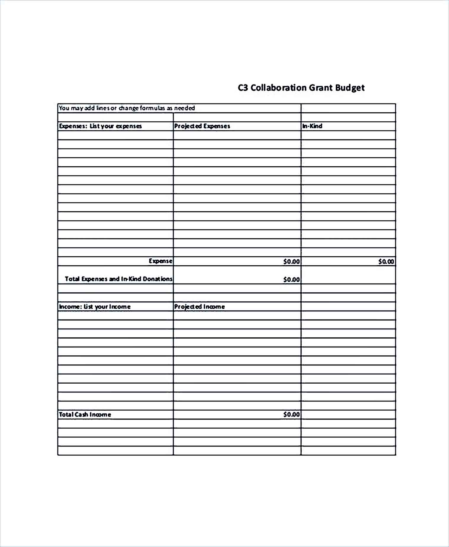 Sample Collaboration Grant Budget