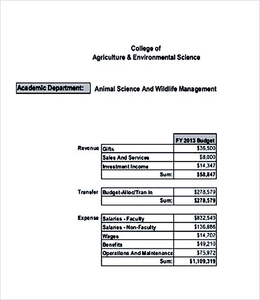 Sample College Department Budget