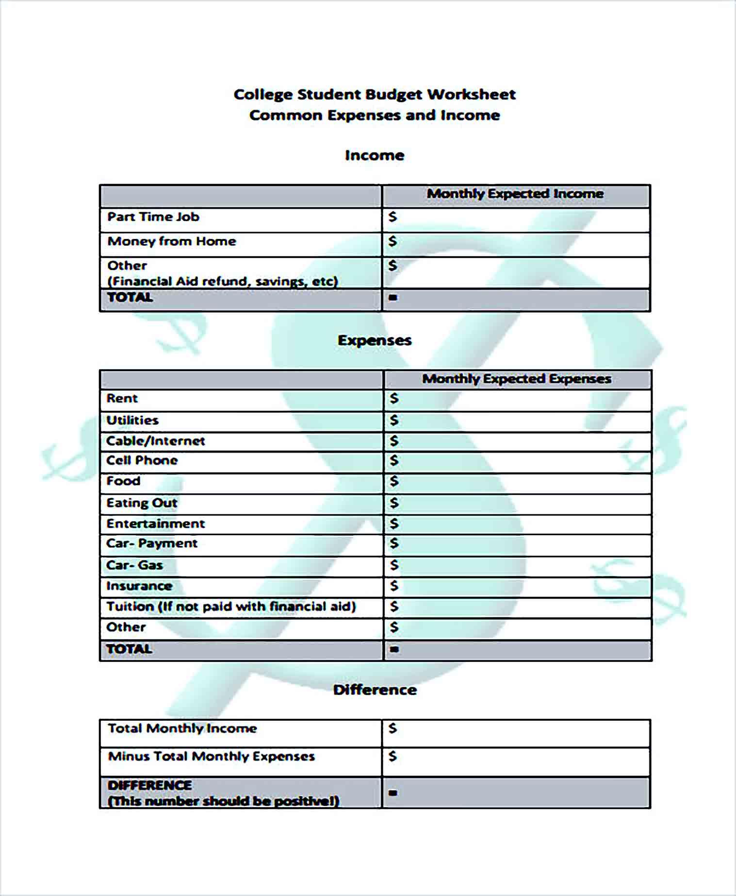 Sample College Student Budget Worksheet