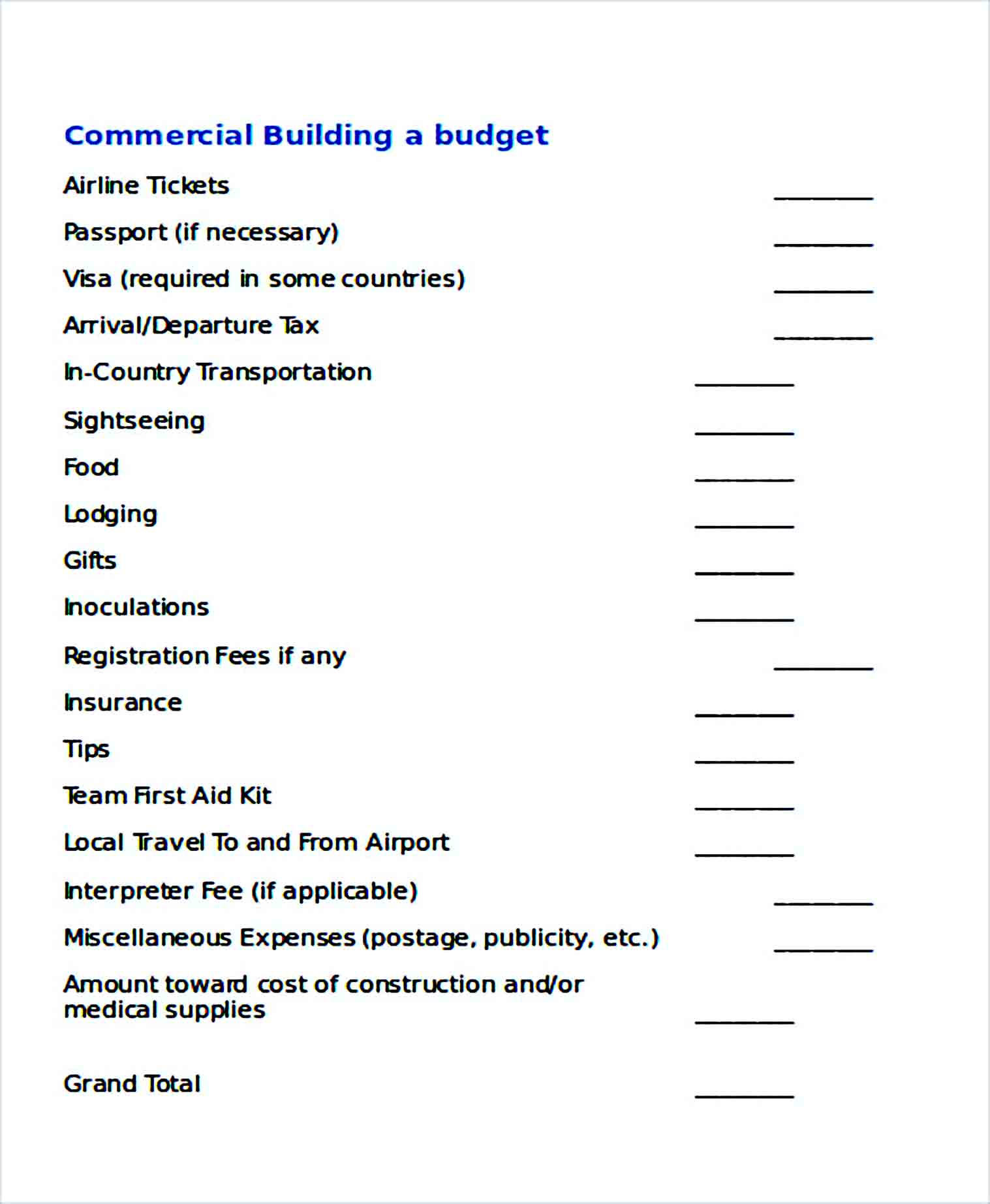 Sample Commercial Building Budget