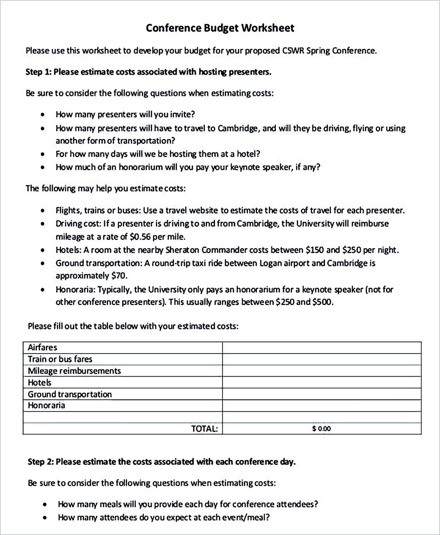 Sample Conference Budget Worksheet 1