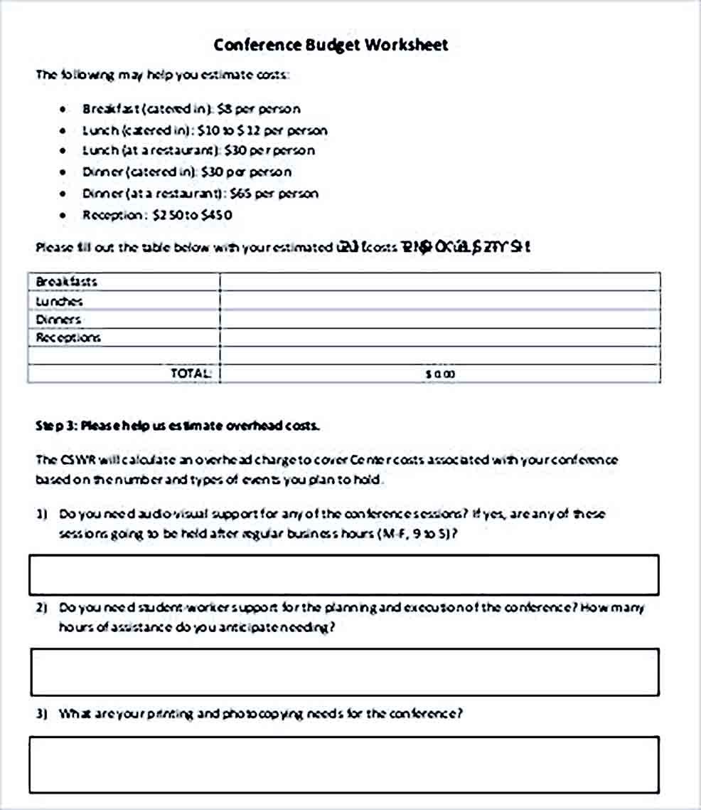 Sample Conference Budget Worksheet
