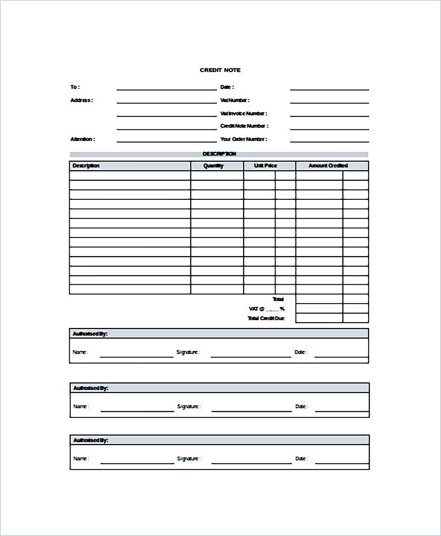 Sample Credit Note Doc Format