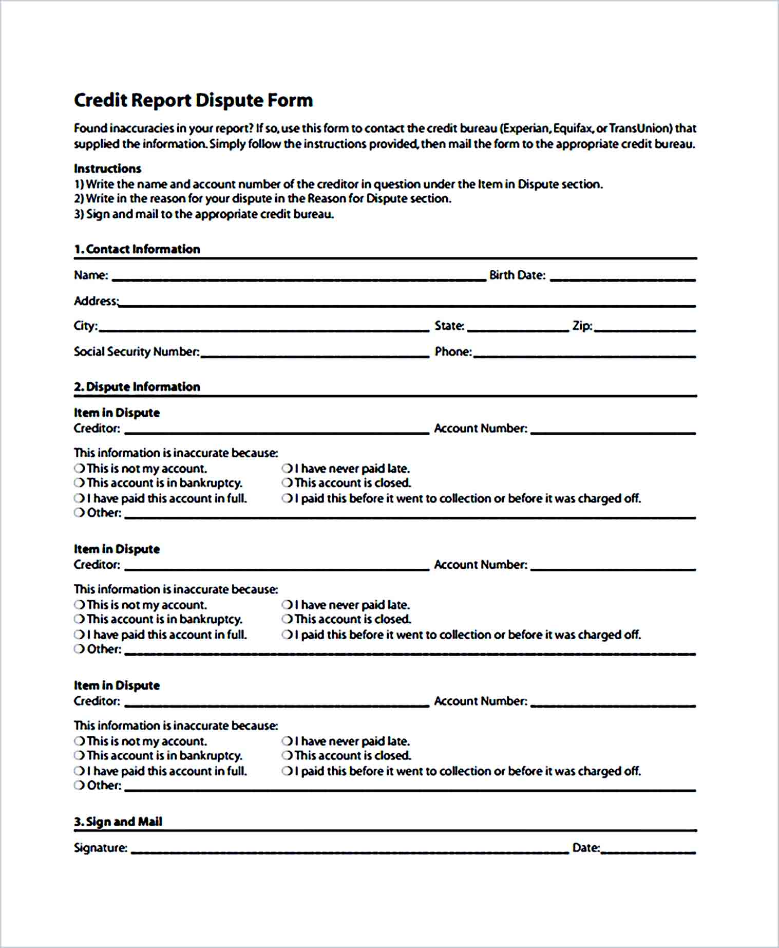 Sample Credit Report Dispute Form