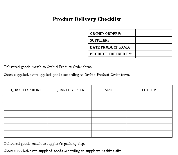 Sample Delivery Checklist Template