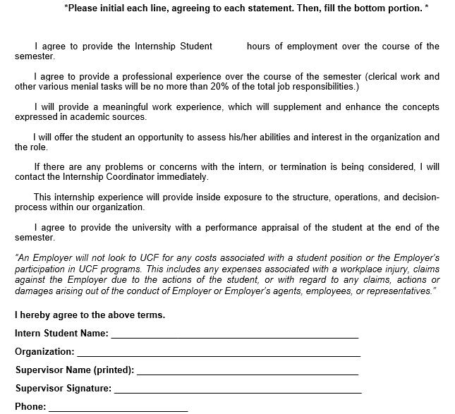 Sample Employer Internship Agreement Template