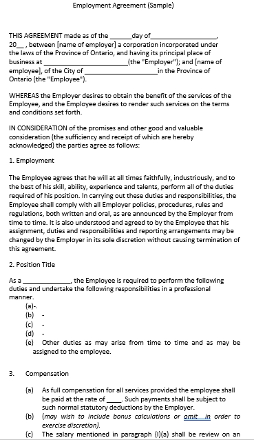 Sample Employment Contract