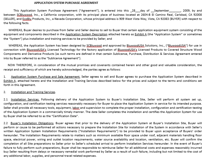 Sample Equipment Purchase Agreement