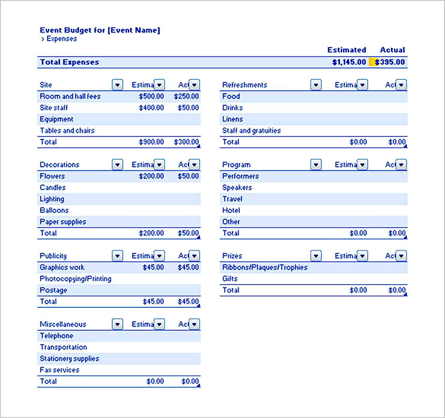 Sample Event Budget Excel Format
