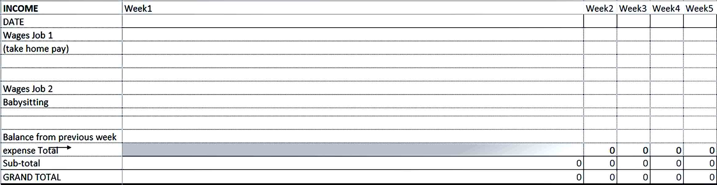 Sample Excel Blank Home Budget
