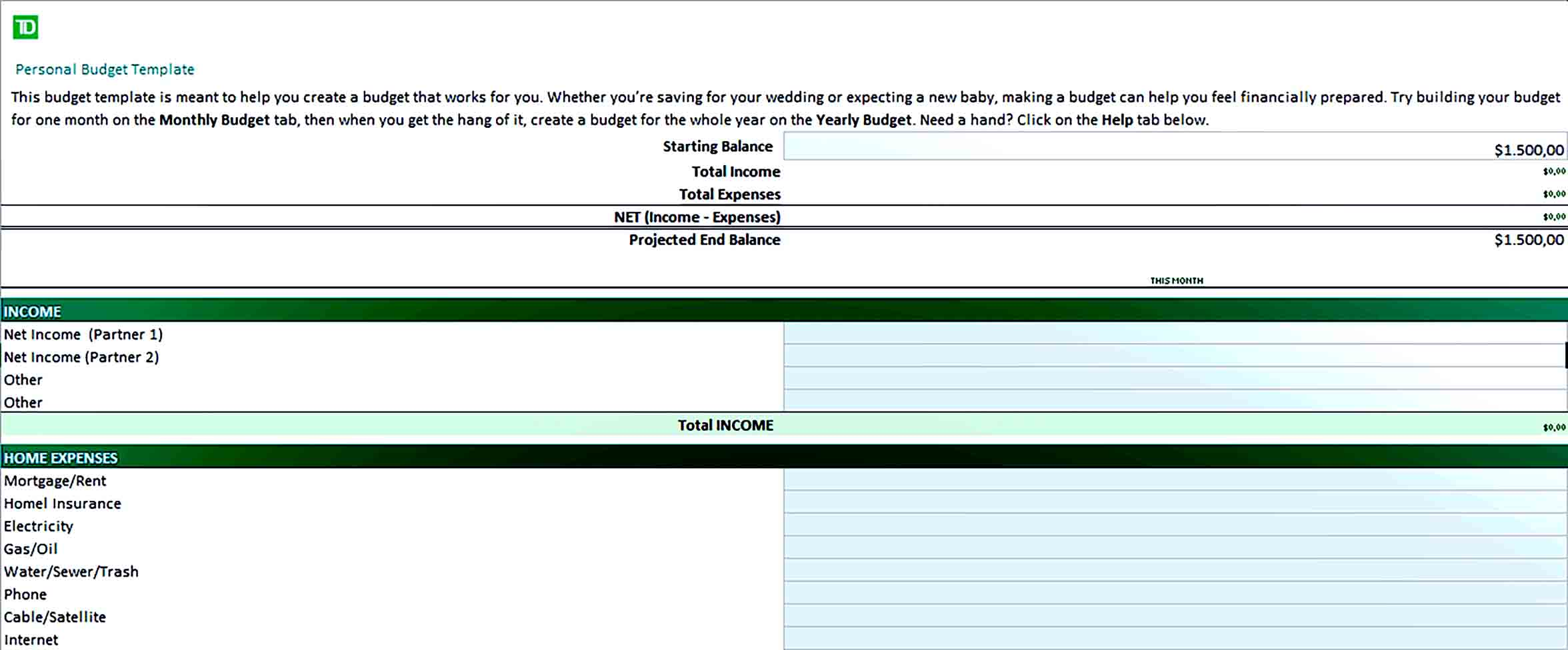 Sample Excel Personal Budget