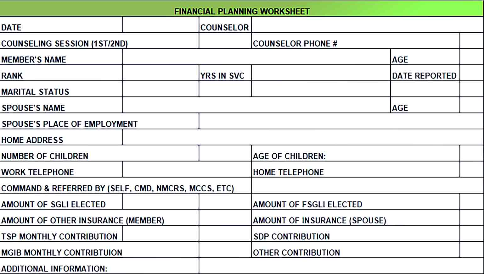 Sample Financial Monthly Budget