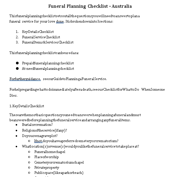 Sample Funeral Checklist