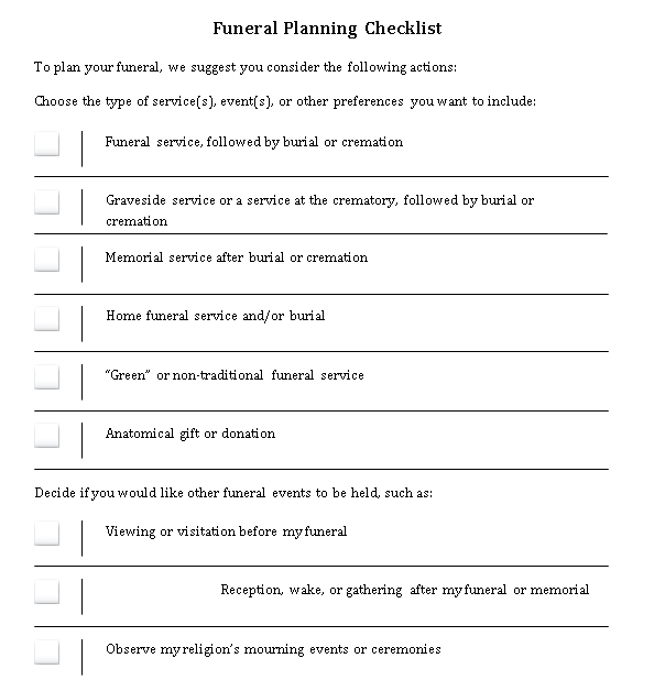 Sample Funeral Planning Checklist