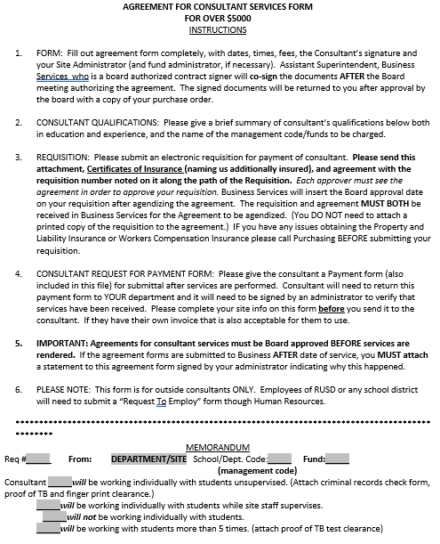 Sample General Consultant Services Agreement Form