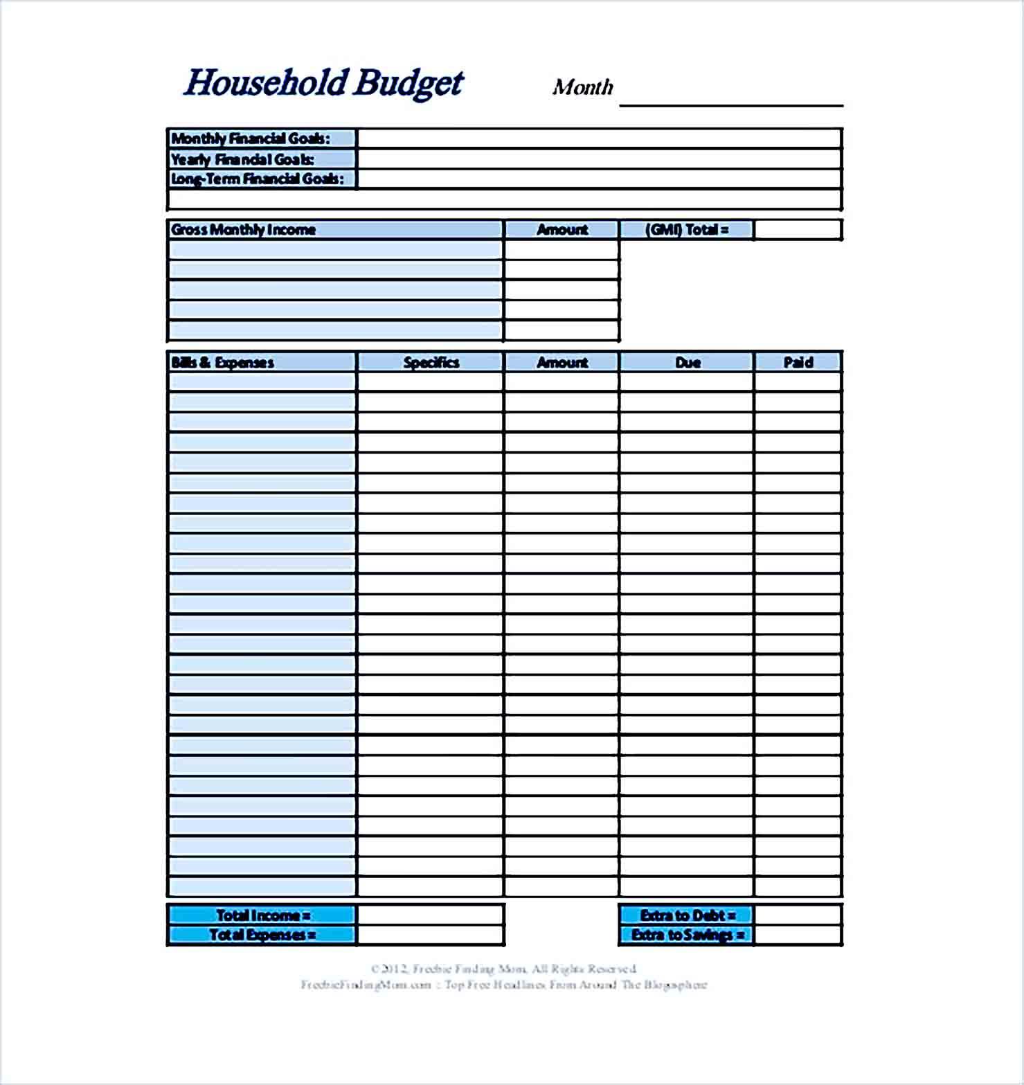 Sample Home Budget Format