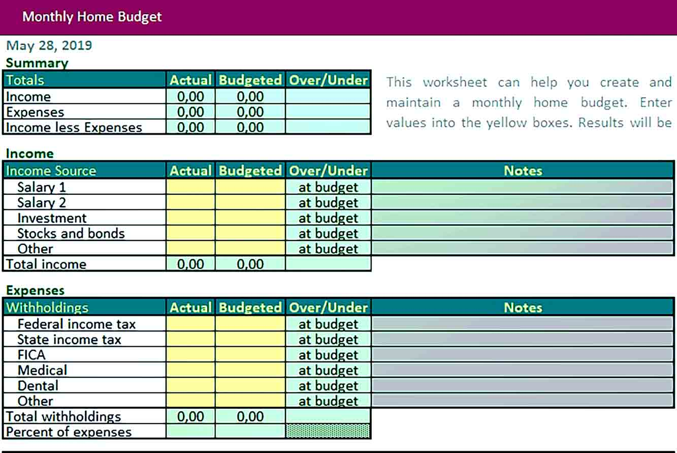 Sample Home Monthly Budget Excel