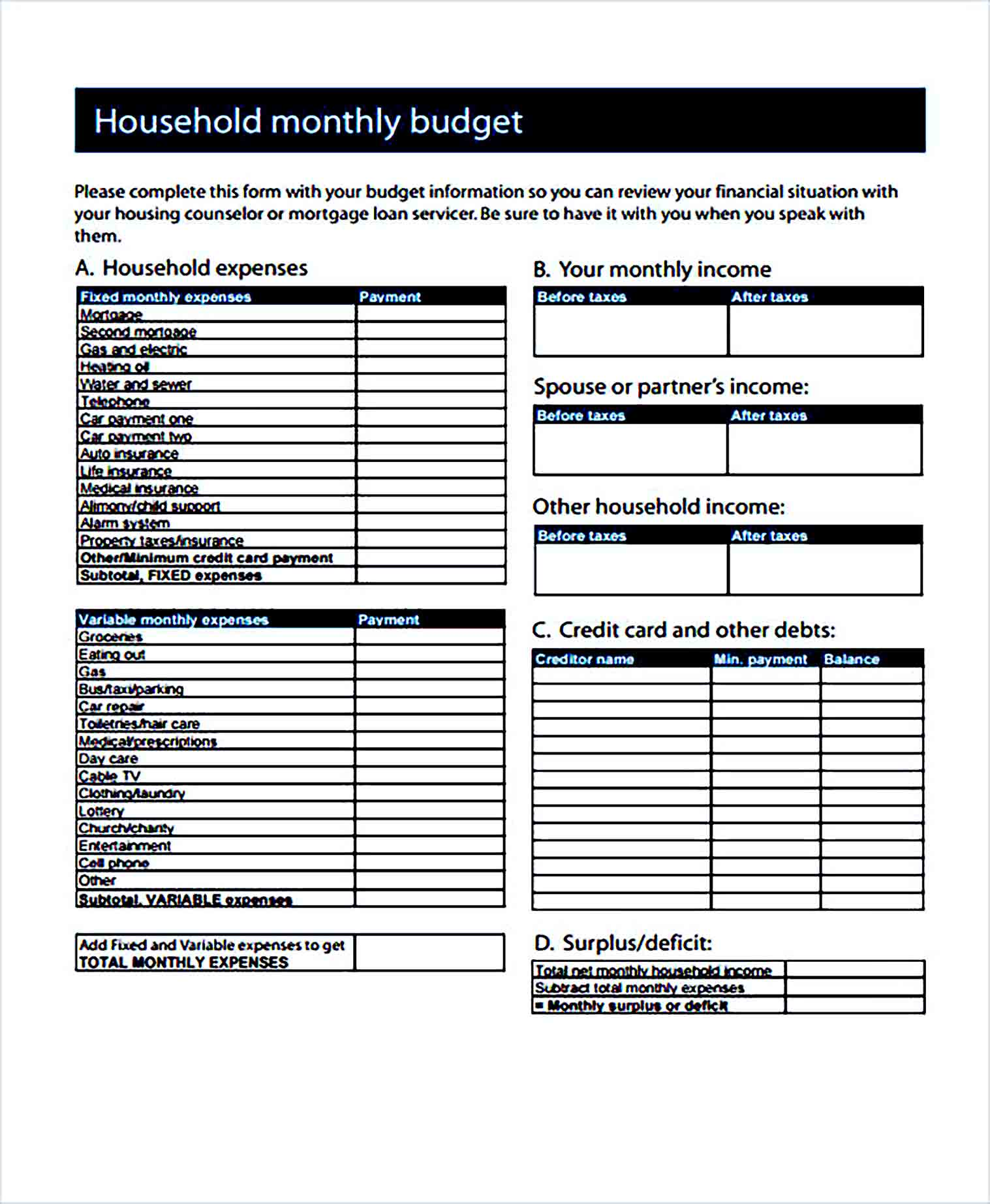 Sample Home Monthly Budget