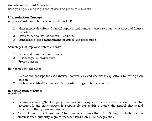 Sample Internal Control Checklist Template