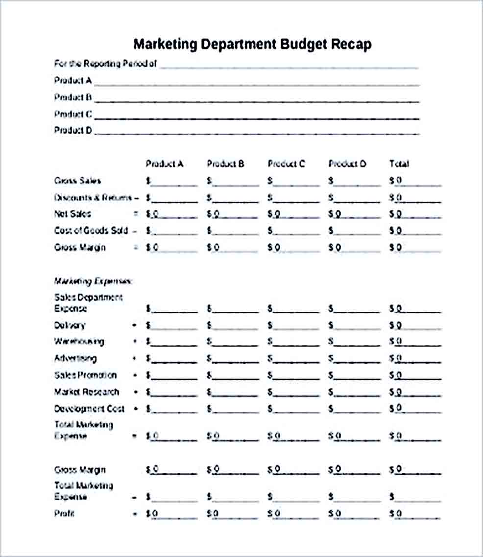 Sample Marketing Department Budget